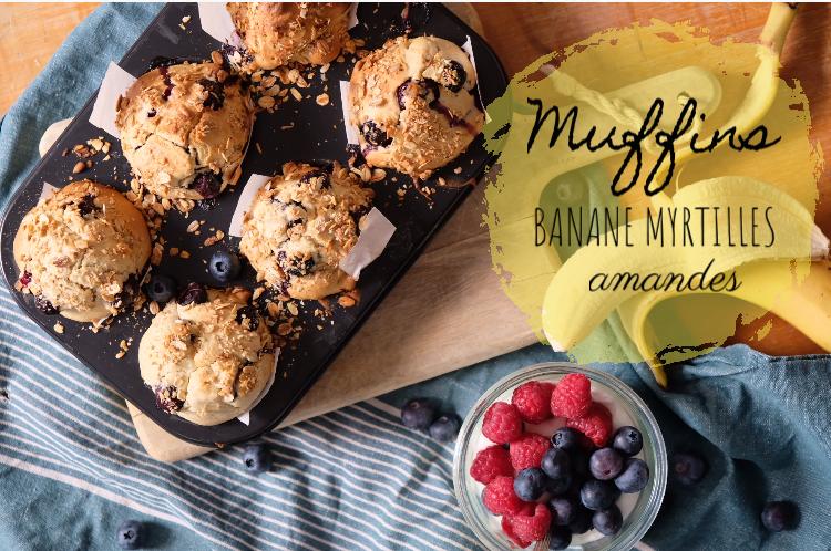 RECETTE #1: Muffins Banane Myrtilles amandes, sans sucreajouté